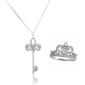 Silver noble crown crystal ring necklace set